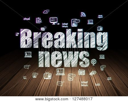 News concept: Glowing text Breaking News,  Hand Drawn News Icons in grunge dark room with Wooden Floor, black background