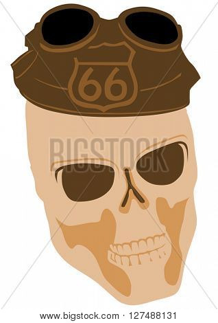 Skull silhouette in hat on white background