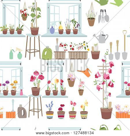 Seamless pattern  with gardening tools. Endless texture for your design.