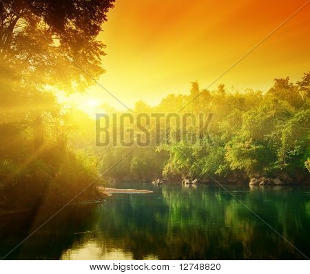 sunset in jungle of Thailand