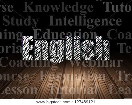 Studying concept: Glowing text English in grunge dark room with Wooden Floor, black background with  Tag Cloud