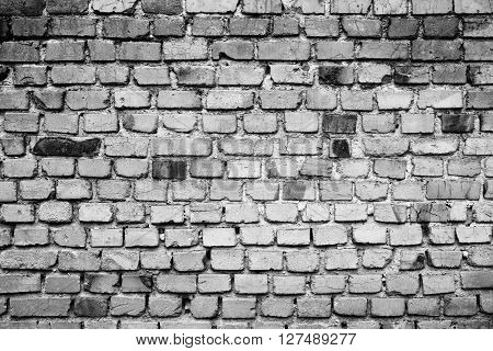 Black and white old brick wall for background