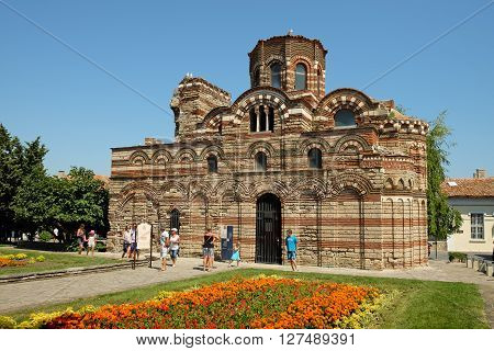 NESSEBAR BULGARIA - JULY 18 2015: The Church of Christ Pantocrator in old town of Nessebar Bulgaria. Ancient city of Nessebar is a UNESCO world heritage site.