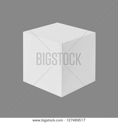 White box (cube) isolated on gray background