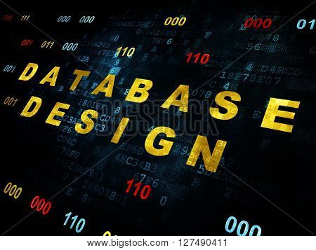 Database concept: Pixelated yellow text Database Design on Digital wall background with Binary Code
