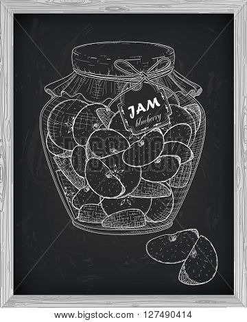 Beautiful Jar Of Homemade Jam With Apple On A Black Background