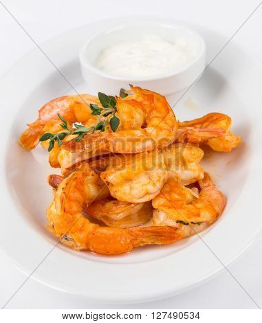 Portion Hot Shrimps On White Plate