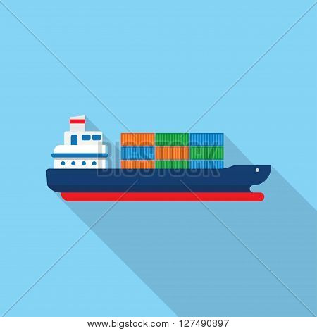 Cargo ship with containers icon vector illustration