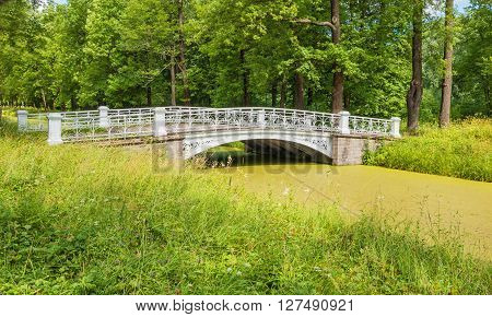 Beautiful white bridge in Alexander Park in the summer ** Note: Visible grain at 100%, best at smaller sizes