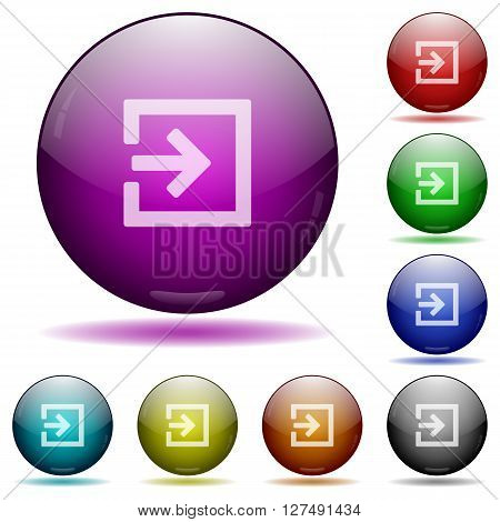 Set of color import glass sphere buttons with shadows.