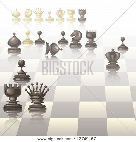 Vector illustration with chess pieces on chessboard.