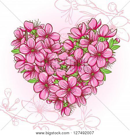 Peach blossom in the shape of heart. Decorative floral illustration of spring flowers