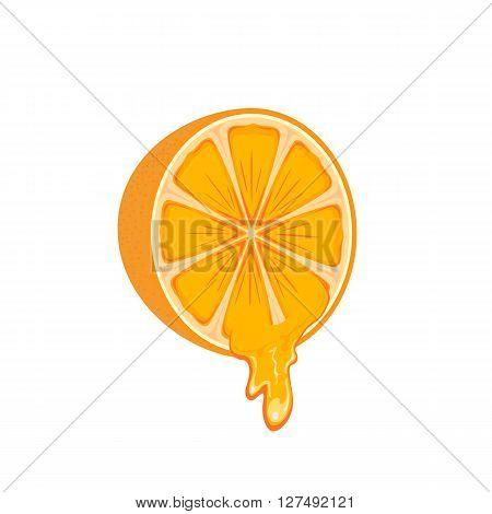 Juicy orange isolated on white background, illustration.