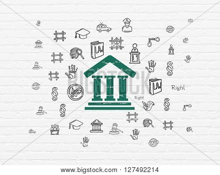 Law concept: Painted green Courthouse icon on White Brick wall background with  Hand Drawn Law Icons