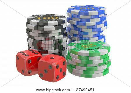 casino chips and dice 3D rendering isolated on white background