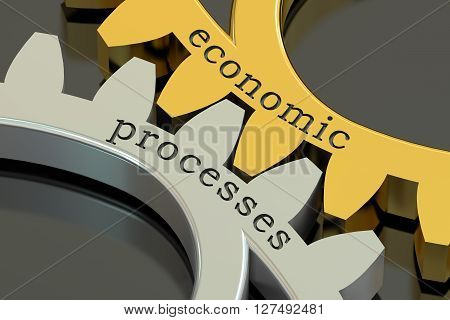 Economic Processes concept on the gearwheels 3D rendering