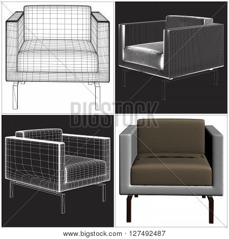 Decorative Elegance Furniture Armchair Isolated  Illustration Vector