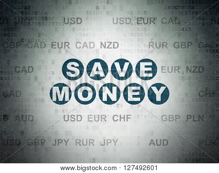 Banking concept: Painted blue text Save Money on Digital Data Paper background with Currency