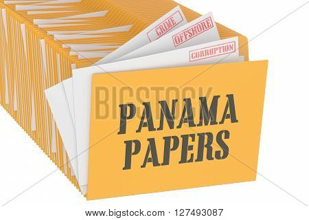 Panama Papers concept 3D rendering isolated on white background