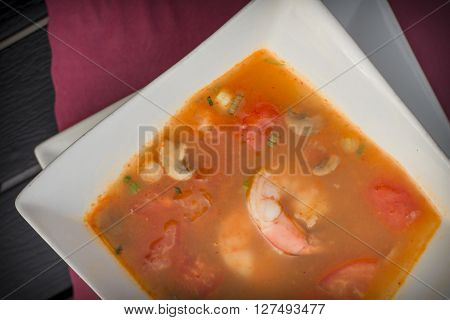 Tom yum koong Thai spicy citrus shrimp soup