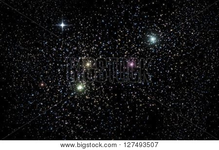 Giant universe starscape 3D Illustration with colorful stars