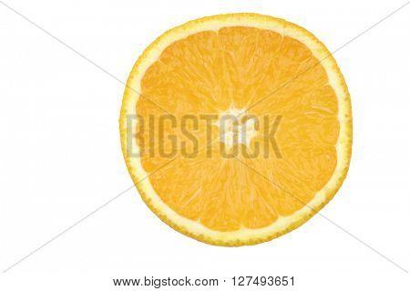 fresh orange slice on a white background