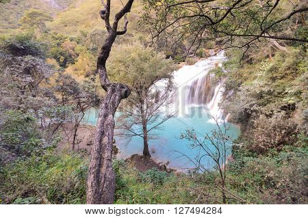 Mighty El Chiflon waterfalls near Comitan in Chiapas Mexico