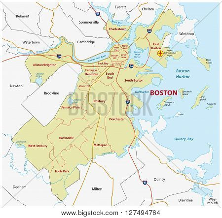 administrative map of boston,state capital of massachusetts
