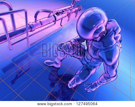 The figure of the robot on a blue background.3d render
