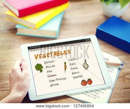 Vegetables Nutrition Shopping List Concept
