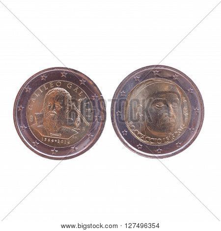 Commemorative 2 EUR coins currency of the European Union bearing the portrait of Giovanni Boccaccio (Italy 2013) and Galileo Galilei (Italy 2014)