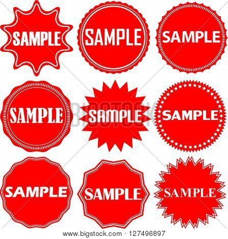 Sample Signs Set. Sample Sticker Set,  Vector Illustration