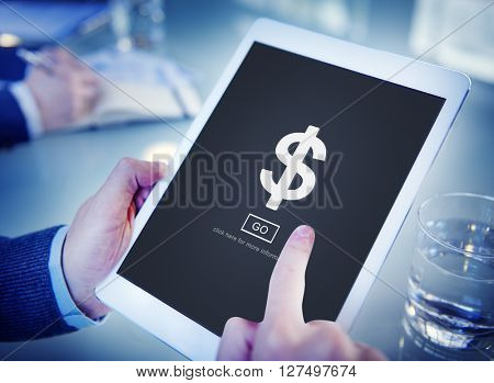 Office Worker Internet Connection Tablet Concept