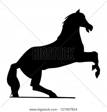 Horse silhouette on a white background. Graphic abstraction vector - horse stood on a candle.