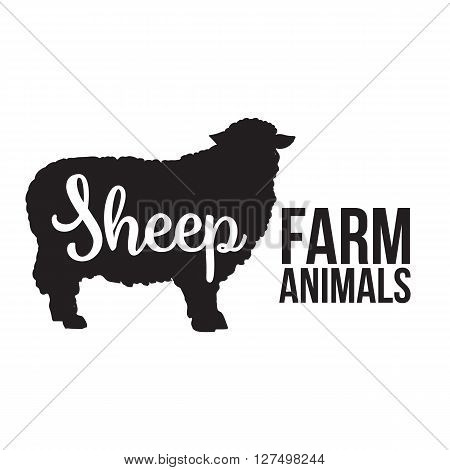 Black contour farm animal with a white lettering  inscription inside, Logo sheep vector animal, outline for the product, vector illustration contour farming sheep with lettering on the mutton meat