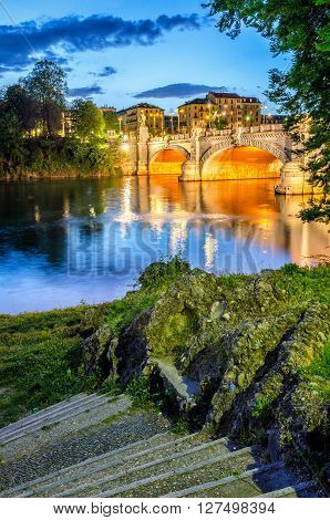 Turin (Torino) river Po and Bridge Umberto I at blue hour