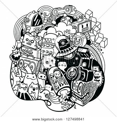 Space doodles - vector illustration. Space and robotic