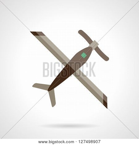 Remote controlled plane. Unmanned aerial vehicles. Airplane with propeller a top view.  Flat color style vector icon. Web design element for site, mobile and business.