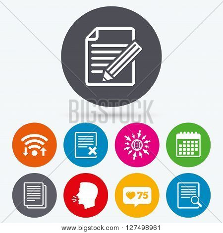 Wifi, like counter and calendar icons. File document icons. Search or find symbol. Edit content with pencil sign. Remove or delete file. Human talk, go to web.