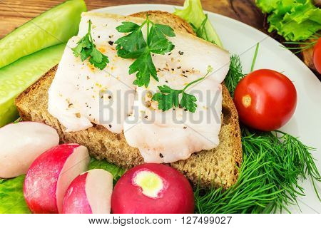 Sandwich with slice of rye bread fresh pork lard and parsley in the plate fresh produce vegetables close-up view