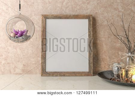 Blank Picture frame on the wall. 3D illustration