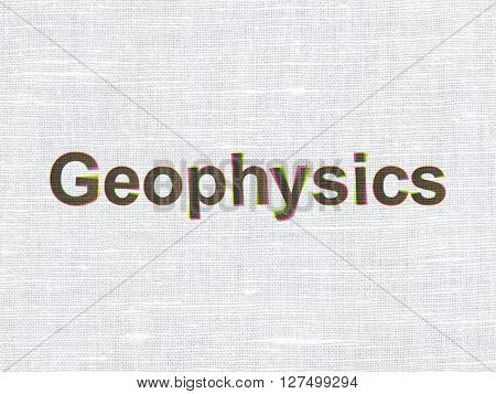 Science concept: CMYK Geophysics on linen fabric texture background