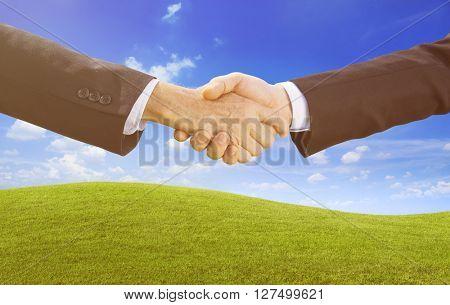 Business Handshake Agreement Achievement Concept