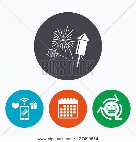 Fireworks with rocket sign icon. Explosive pyrotechnic symbol. Mobile payments, calendar and wifi icons. Bus shuttle.