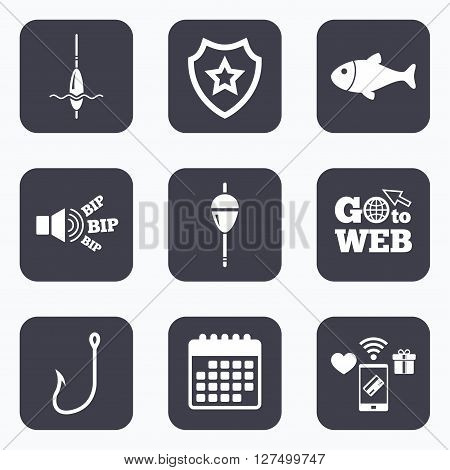 Mobile payments, wifi and calendar icons. Fishing icons. Fish with fishermen hook sign. Float bobber symbol. Go to web symbol.