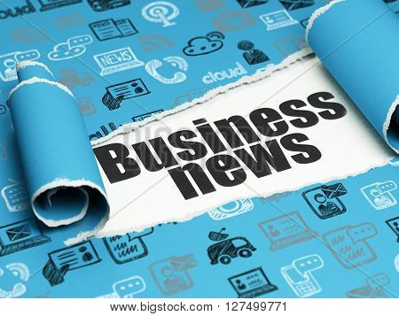 News concept: black text Business News under the curled piece of Blue torn paper with  Hand Drawn News Icons, 3D rendering