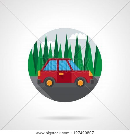 Red car goes on road by pine forest. Automobile test drive. Travelling by car. Auto insurance. Round flat color style vector icon. Web design element for site, mobile and business.