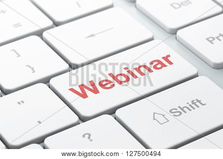Education concept: computer keyboard with word Webinar, selected focus on enter button background, 3D rendering
