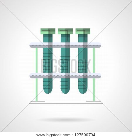 Tree test-tubes with green liquid on rack. Laboratory test and analysis. Chemical research, medicine and biology. Flat color style vector icon. Web design element for site, mobile and business.