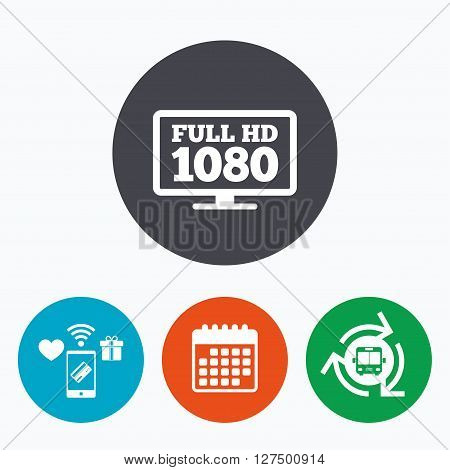 Full hd widescreen tv sign icon. 1080p symbol. Mobile payments, calendar and wifi icons. Bus shuttle.